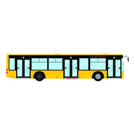 Passenger public modern urban transport, municipal bus, Side view city transport isolated on white background. Illustration