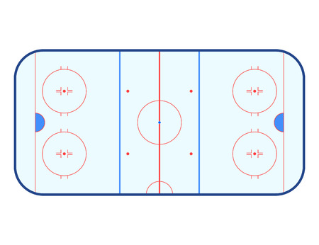 Vector illustration of ice hockey rink. Top view. Isolated on white background.