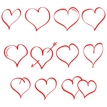Vector set of hand drawn heart. Symbol of love. Element for Valentines Day design. Isolated on white background.
