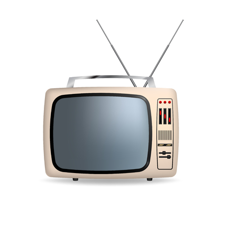 Vector retro portable tv with blank screen. Isolated on white background.
