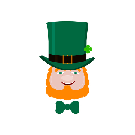 Leprechaun face with red beard, green hat and clover. Design element for St. Patricks Day. Isolated on white background. Vector illustration.