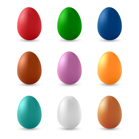 Set of single-color vector Easter eggs. Isolated on white background. Illustration
