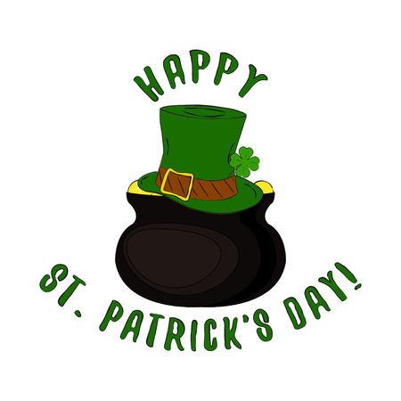 Vector Happy St. Patricks Day lettering with leprechaun hat and pot of gold. Isolated on white background.