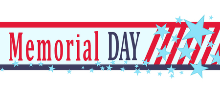Vector Memorial Day banner with stars, stripes and lettering. Template for Memorial Day.