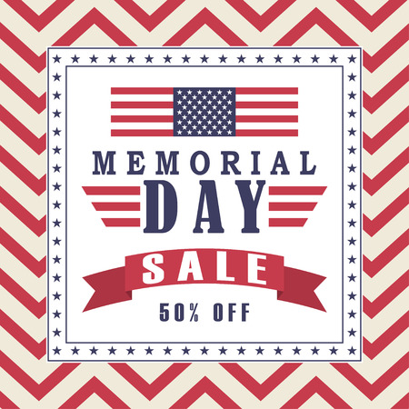 Vector Memorial Day sale background with stars, ribbon and lettering. Template for Memorial Day. Illustration