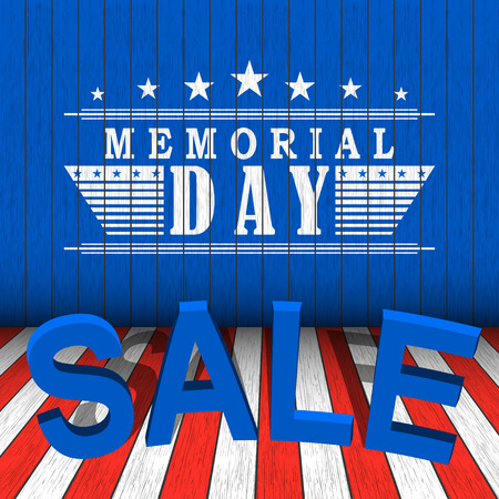 Vector Memorial Day sale with stars and lettering on blue, red and white wooden background. Template for Memorial Day.