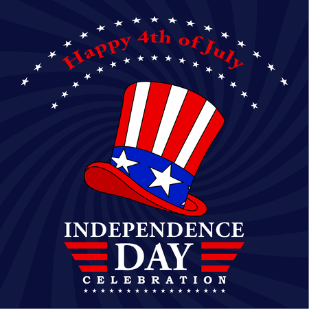 Happy 4th of July background. Fourth of July decoration. USA Independence Day design with text and uncle Sam hat. Vector illustration. Stock Photo
