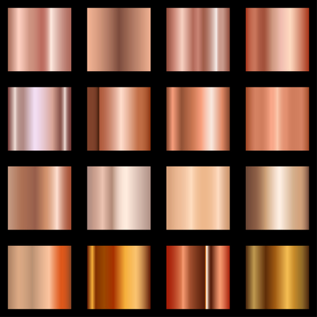 Copper gradients set. Collection of metallic gradient for background, cover, frame, ribbon, banner, coin, label, flyer card poster Vector EPS 10