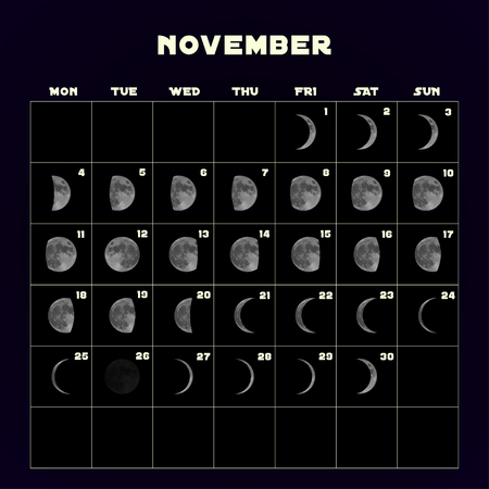 Moon phases calendar for 2019 with realistic moon. November. Vector EPS 10