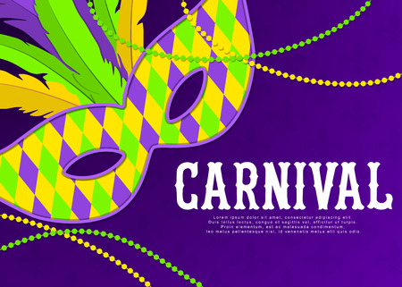 Carnival background with mask and feathers. Beautiful masquerade design template for poster, greeting card, party invitation, banner or flyer. Carnival background. Vector.
