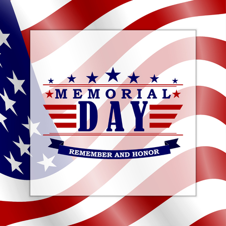 Memorial Day background with USA flag and lettering. Template for Memorial Day design. Vector EPS 10.