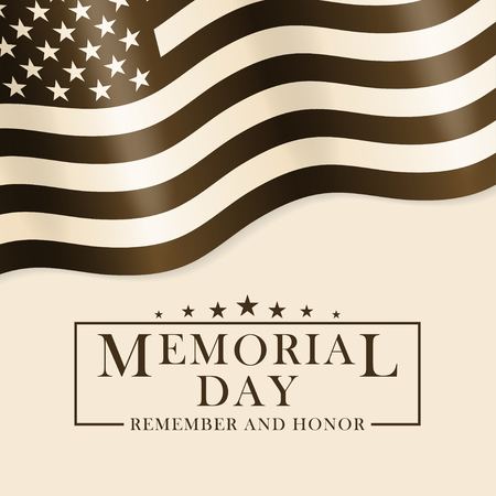 Memorial Day background with USA flag and lettering. Black and white template for Memorial Day design. Memorial Day background in retro style. Vector.