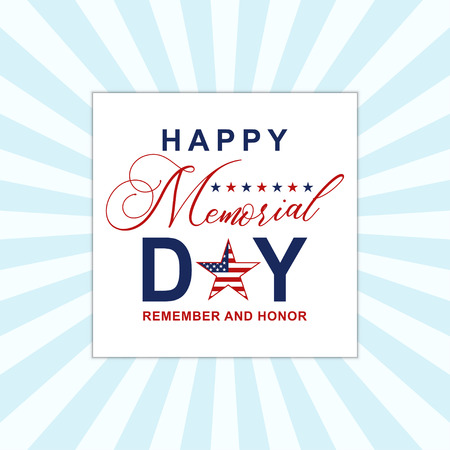 Happy Memorial Day background with stars. Template for Memorial Day invitation, greeting card, banner and advertising. Vector.