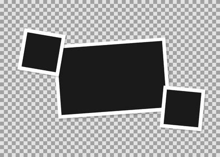 Zusammensetzung von drei Bilderrahmen verschiedener Formate des alten Typs. Retro-Bilderrahmen für Ihr Design. Auf transparentem Hintergrund isoliert. Vektor. Vektorgrafik