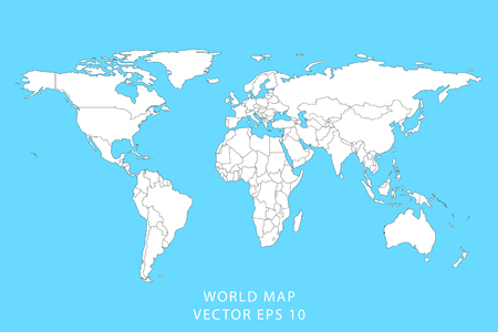 Detailed world map with borders of states. Isolated world map. Vector illustration.