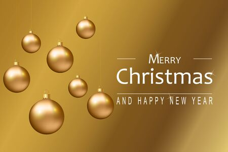 Christmas background with golden balls, snowflakes and wishes Merry Christmas and Happy New Year. Vector. Çizim