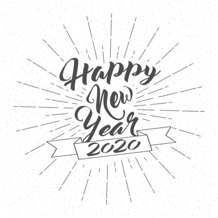 Happy New 2020 Year. Holiday Decoration With Lettering Composition, Ribbon and Burst. Vintage Festive Label. Vector. Ilustracja