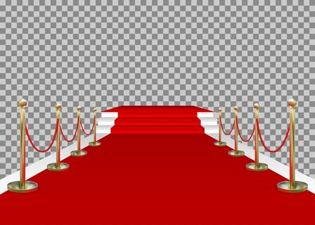 Red carpet and golden barriers with stairs and scene. VIP entering the stage for the award. Shiny fencing isolated on transparent background. Vector.