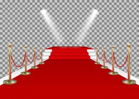 Red carpet and golden barriers with stairs, scene and spotlights. VIP entering the stage for the award. Shiny fencing isolated on transparent background. Vector.