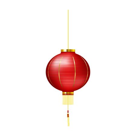 Chinese traditional red hanging lantern. Realistic hanging lantern isolated on white background. Vector. Иллюстрация