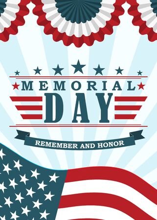 Memorial Day background. Template for Memorial Day banner and poster design. Memorial Day greeting card with US flag, stars and stripes. Vector. Vettoriali