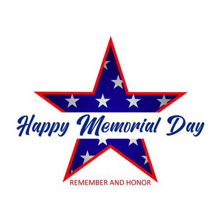 Happy Memorial Day lettering with star. Isolated on white background. Vector. Vectores