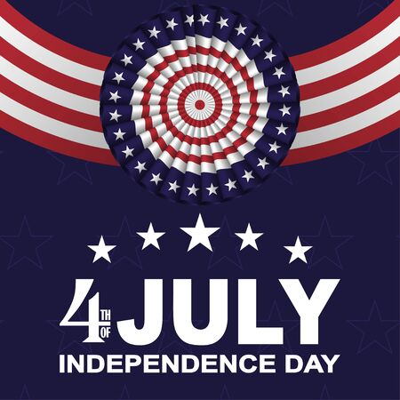 4th of July, USA Independence day background with fans in colors of American flag with stars and stripes. Vector.
