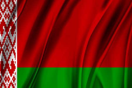 National Flag of the Republic of Belarus. Waving Belarusian flag. Vector.