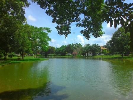 lagoon: Lagoon landscape in the park Stock Photo