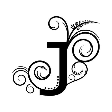creeping plant: Black alphabet letter J with creeping plant