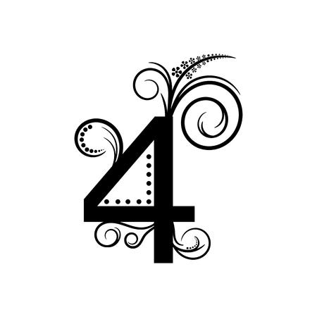 creeping: Negro n�mero 4 con planta rastrera Vectores