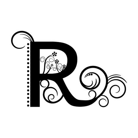 creeping plant: Black alphabet letter R with creeping plant Illustration