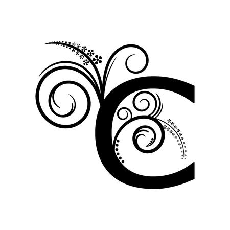 creeping: Negro letra del alfabeto C con planta rastrera