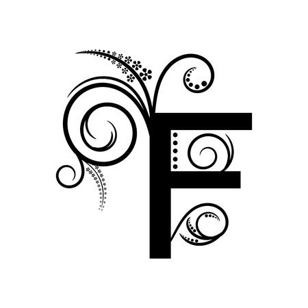 creeping: Negro letra del alfabeto F con planta rastrera