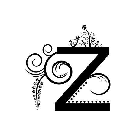 creeping: Black alphabet letter Z with creeping plant Illustration