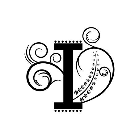 creeping: Letra del alfabeto Negro I con planta rastrera
