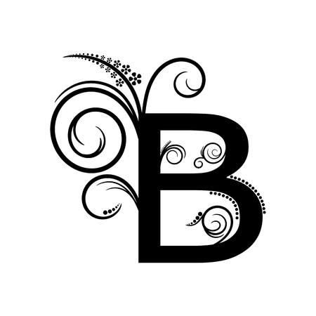 creeping: Black alphabet letter B with creeping plant Illustration
