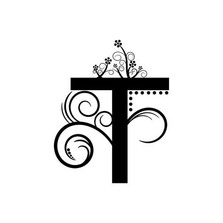 creeping: Letra del alfabeto Negro T con planta rastrera Vectores