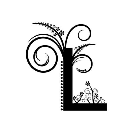 creeping: Negro letra del alfabeto L con planta rastrera