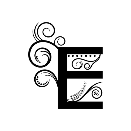 creeping plant: Black alphabet letter E with creeping plant