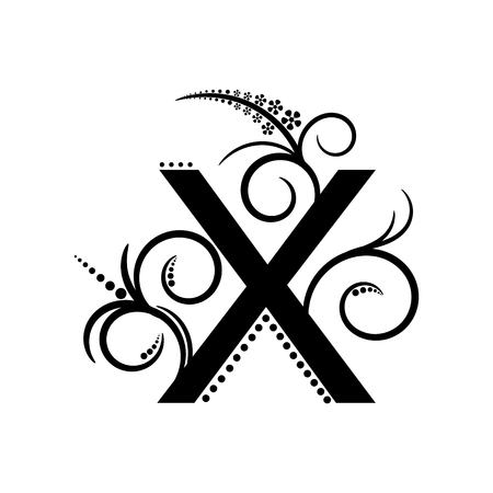creeping: Black alphabet letter X with creeping plant Illustration