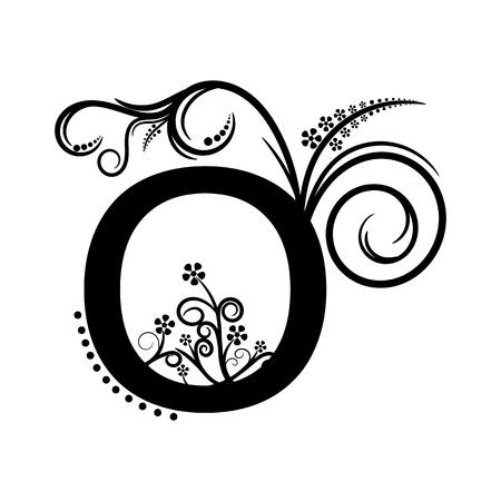 creeping plant: Black alphabet letter O with creeping plant