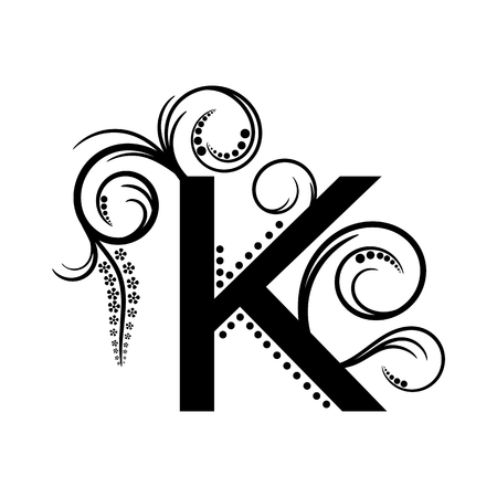 creeping plant: Black alphabet letter K with creeping plant