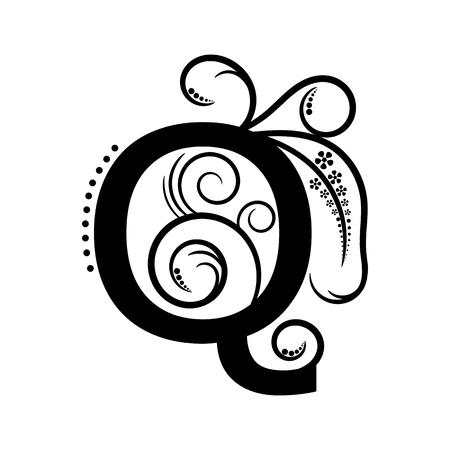 creeping plant: Black alphabet letter Q with creeping plant Illustration