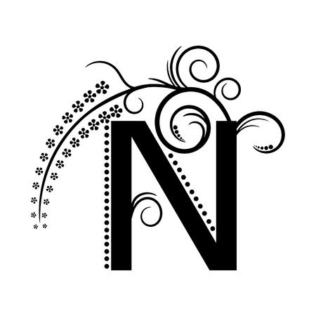 Black alphabet letter N with creeping plant Illustration