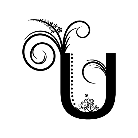 creeping: Black alphabet letter U with creeping plant