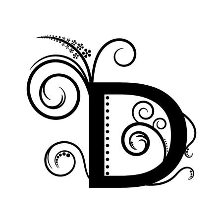 creeping plant: Black alphabet letter D with creeping plant