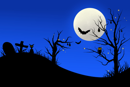 tomb: Illustration of horror halloween night with blue sky full moon , bat on tree and cat at tomb