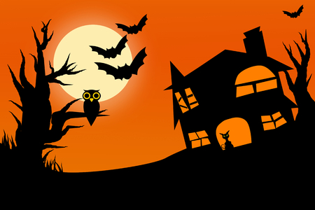 horror castle: Illustration of horror halloween night with twilight sky full moon owl on tree and cat in castle