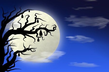 afterglow: Illustration of halloween night with dark blue sky and full moon, bat on a tree